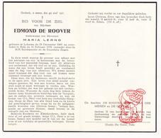 DP Edmond De Roover ° Lokeren 1869 † Zele 1955 X M. Lerno / Van Der Meiren De Geyter - Devotion Images