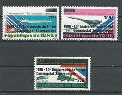 MALI Scott C529-C531 Yvert PA520-PA522 (3) ** Cote 8,50$ 1986 Surcharges - Mali (1959-...)