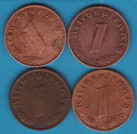 DEUTSCHES REICH  LOT 4 X 1 Reichspfennig 1937 A-E-F-J KM# 89 (svastika) - [ 4] 1933-1945: Drittes Reich