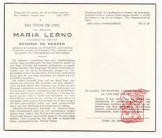 DP Maria Lerno ° Lokeren 1873 † Zele 1952 X E. De Roover / De Geyter Van Der Meiren - Devotion Images