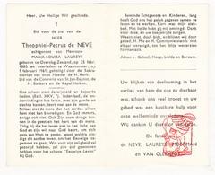 DP Theophiel P. De Neve ° Overslag Terneuzen NL 1885 † Waasmunster BE 1961 X M. Laureys / Moerman Van Cleemput - Devotion Images
