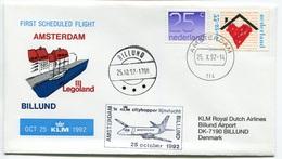 RC 6692 PAYS-BAS KLM 1992 1er VOL AMSTERDAM - BILLUND LEGOLAND DENMARK FFC NETHERLANDS LETTRE COVER - Airmail