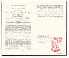 DP Augusta De Vos ° Eksaarde 1878 † Lokeren 1957 X G. De Vos / De Maesschalk - Devotion Images