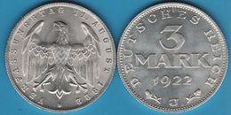 DEUTSCHES REICH 3 MARK 1922 J KM# 29 VERFASSUNGSTAG 11. AUGUST 1922 - 3 Mark & 3 Reichsmark