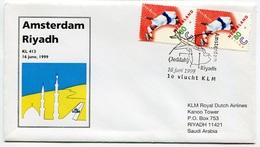 RC 6696 PAYS-BAS KLM 1999 1er VOL AMSTERDAM - RIYADH SAUDI ARABIA FFC NETHERLANDS LETTRE COVER - Airmail