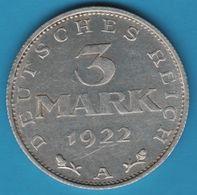 DEUTSCHES REICH 3 MARK 1922 A KM# 28 - [ 3] 1918-1933 : Weimar Republic