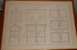 Plan De La Maison De Garde Du Chemin De Fer De Saint-Etienne à Firminy. 1859. - Public Works