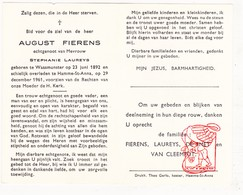 DP August Fierens ° Waasmunster 1892 † St.-Anna Hamme 1961 X S. Laureys / De Smet Van Cleemput - Devotion Images