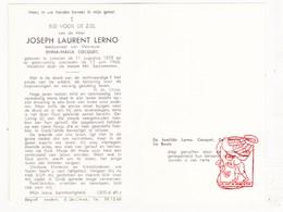 DP Joseph L. Lerno ° Lokeren 1872 † 1962 X Emma M. Coquet / De Geyter De Beule - Devotion Images