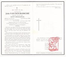 DP Julia Van Den Bossche ° Lokeren 1885 † St.-Niklaas 1964 X L. Briessinck / Laureys - Devotion Images
