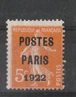Timbres Type Préo  N°30 Postes Paris 1922  Neuf * B - 1893-1947