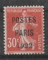 Timbres Type Préo  N°32 Postes Paris 1922  Neuf * B - 1893-1947