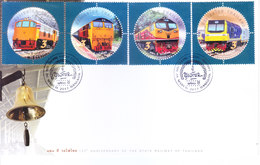THAILAND - 26.03.2017 FIRST DAY COVER - 120TH ANNIVERSARY OF STATE RAILWAY OF THAILAND - 4V. SETENANT - Thaïlande