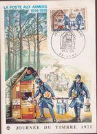 CARTE TIMBRE 1971 JOURNEE DU TIMBRE LA POSTE AUX ARMEES - Maximumkarten