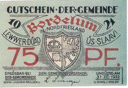 Deutschland Notgeld 75 Pfennig BORDELUM /58M/ - Lokale Ausgaben