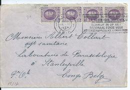 Brief Met OCB 198(4x) Verstuurd Naar Belgisch Congo (voorkeurtarief) - 1922-1927 Houyoux