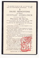 DP Gustaaf Gyselinck ° Lokeren 1840 † 1923 X Ph. De Geyter - Devotion Images