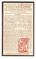 DP Celestine M. Lerno ° Lokeren 1865 † 1930 X Theofiel De Baere - Devotion Images
