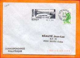 SEINE ST DENIS, Bondy, Flamme SCOTEM N° 10623, Journée Du Timbre, 17-18 Mars 1990 - Marcophilie (Lettres)