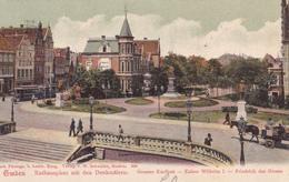 1306/ Emden, Rathausplatz Mit Den Denkmalern, Grosser Kurfurst, Kaiser Wilhelm L, Friedrich Der Grosse, 1904 - Emden