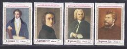 AJMAN AERIENS N°   51 ** MNH Neufs Sans Charnière, 4 Val. TB (D4719) Musiciens, Bellini, Liszt, Bach, Bizet - Ajman