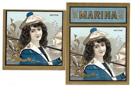 2 Etiquettes  -  Cigare  MARINA - PEPITOS - Jeune Fille En Tenue De Marin - Etiketten