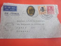 1938 Asie  Siam Devant De Lettre Document Par Avion Air France Entête Trocadéro Hotel Bangkok Thaïlande - Siam