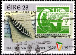IRELAND 1997 75th Anniv Of Irish Free State - 28p - Page From Annals Of The Four Masters, Quill And 1944 1/2 D Stamp FU - Used Stamps