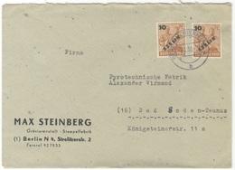 B389 Berlin West Brief Firmenpost 1950 2x Mi. 65 Handstempel Berlin Lichterfelde 4 B Stempelfabrik Max Steinberg - [5] Berlin