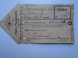 D156459 Transport Tag - DEKA PNEAUMATIK  Berlin Lichtenberg  -to Hungary  1941 - Biglietti Di Trasporto