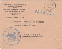 FRANCE  PROTECTORATE AIR MAIL COVER - MINISTÉRE DÉFENSE NATIONAL ALGER - ATELIER INDUSTRIEL DE L'AIR - CASABLANCA MAROC - Algeria (1924-1962)