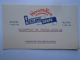 D156460 Advertising  REKLAMO-GRAPH Konwallin  Budapest  Ca 1930-40's - Pubblicitari