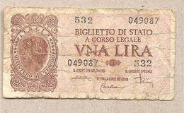 """Italia - Banconota Circolata Da 1£ """"Italia Laureata"""" - 1944 """"Di Cristina -Cavallaro-Parisi"""" - [ 1] …-1946 : Kingdom"""