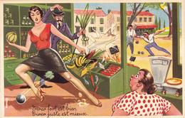 CPSM Pin-up Sexy Bas Femme Grosse Epicerie Sport Jeu Boules Pétanque Bouliste Illustrateur L. CARRIERE N°464 - Carrière, Louis
