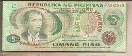 Filippine - Banconota Circolata Da 5 Piso P-160c - 1978 - Filippine