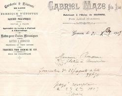 Facture 1913  Gabriel MAZE  Fils Ainé  Fabricant à L'usine De Gensou 24 (à Coté De Lisle )Carderie Et Filature De Laine - Francia