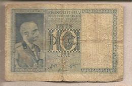 "Italia - Banconota Circolata Da 10 Lire ""Impero"" P-25b - 1938 - [ 1] …-1946 : Koninkrijk"