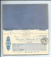 CARNET De CHEQUES De 1930 De La BANQUE NATIONALE De CREDIT Avec CACHET FISCAL - Chèques & Chèques De Voyage