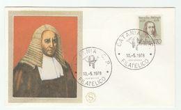 1978 Catania ITALY Silk FDC MALPIGHI Physician Biologist Stamps Cover Health Medicine - Medicine