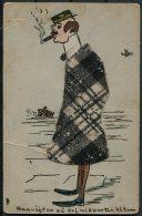 1910 Sweden Handmade Material Cigar Smoker Postcard - Postcards