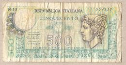"""Italia - Banconota Circolata Da 500 Lire """"Mercurio"""" P-95 - 1976 - 500 Lire"""