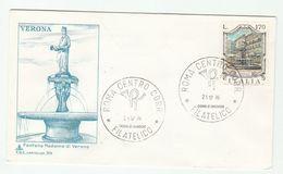 1976 ITALY FDC FOUNTAIN  Fontana Modonna Di Verona Stamps Cover - 6. 1946-.. República