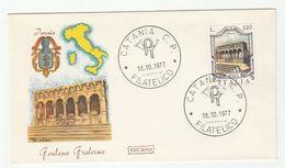 1977 Catania ITALY FDC FOUNTAIN Fontana Fraterna Isernia Stamps Cover - 6. 1946-.. República