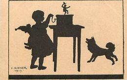 - Themes -ref.-1000- Silhouettes - Silhouette - Fillette - Boite A Musique - Serinette - Chien - Kiener 1913 - - Silhouette - Scissor-type