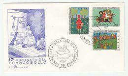 1975 ITALY FDC  Illus WOMAN KNITTING  , Children Stamp Day Stamps Cover - Textile