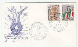 1976 ITALY FDC REPUBLIC Anniv Flag Stamps Cover - 6. 1946-.. República