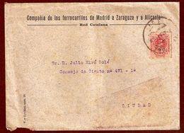 Edifil N.º 269. Carta Circulada En Barcelona En Agosto De 1918. Destaca Sobre De La Compañía De Ferrocarriles De Madrid - 1889-1931 Kingdom: Alphonse XIII