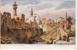 PALESTINE ETANG DE BÉTHESDA À JÉRUSALEM  MOSQUEE MINARET  CP D'ART - Palestine