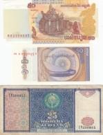 Lot Of 4 Different Asia Banknotes Cambodia #52 (2002) Myanmar #68 (1994) #69 (1996) Uzbekistan #77 (1994)F-UNC - Alla Rinfusa - Banconote