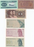 Lot Of 6 Different Asia Banknotes China #861b (1953) #881b (1980) Indonesia #90 #91 #92 (1964) South Korea #30 (1962) - Alla Rinfusa - Banconote